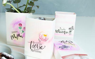 Geschenkidee zum Muttertag – Watercolor Geschenktüte